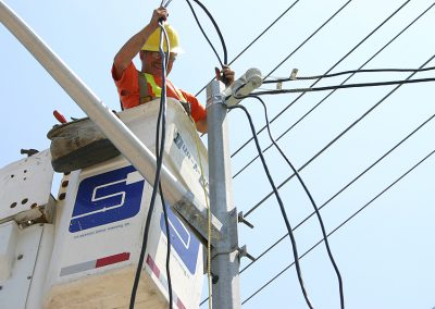 electrical worker working on power lines