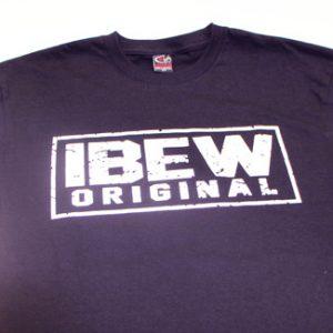 black short sleeve IBEW Originals t-shirt white text