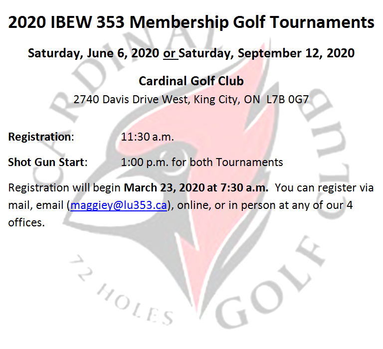 Membership Golf Tournament Information - June 6 or September 12, 2020
